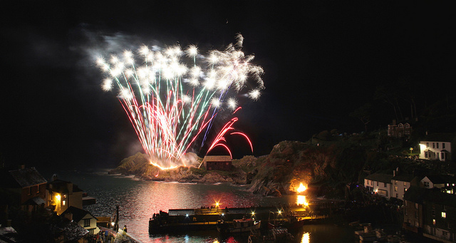 Fireworks over Polperro Harbour